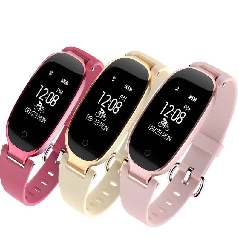 Linda pulseira feminina relógio inteligente com monitor de freqüência cardíaca esporte rastreador de fitness à prova dwaterproof água bluetooth smartwatch para smartphone