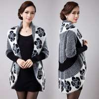M 3XL Free Shipping 2015 New Fall Winter Women Knitted Cardigan Jacket Sweater Dress Loose Plus
