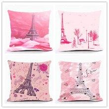 цена на Vintage Style Romantic France Eiffel Tower Paris Sofa Cushion Covers For Car Chair Throw Pillow Case