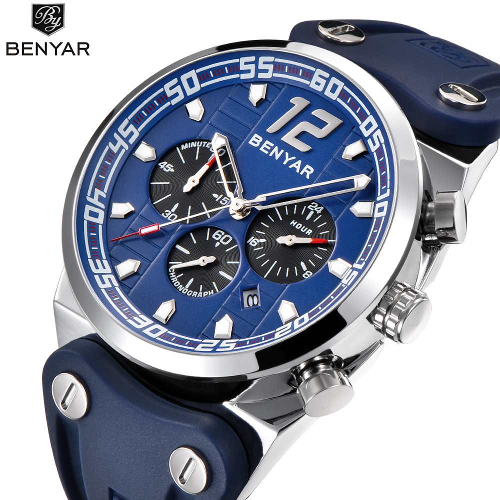 New listing Men's Watches BENYAR Luxury Brand Quartz watch Men Military silicone strap Calendar Function Chronograph Waterproof
