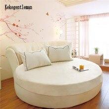Sábana ajustable redonda de algodón 100%, juego de cama redondo de Color sólido romántico, cubierta de colchón, Hotel temático de 200cm y 220cm