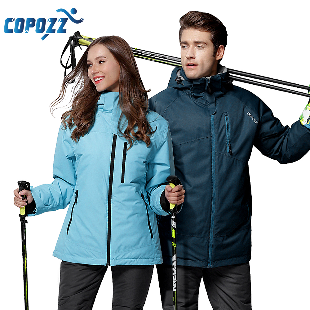 COPOZZ Ski Suit Mountain Waterproof Snowboard Warm Ski Jacket and Pants Ski Set Men Women Winter Outdoor Female Male Snow Suits gsou snow ski suit for women skiing suit winter outdoor sports clothes snowboard set camouflage ski jacket and pants multicolor