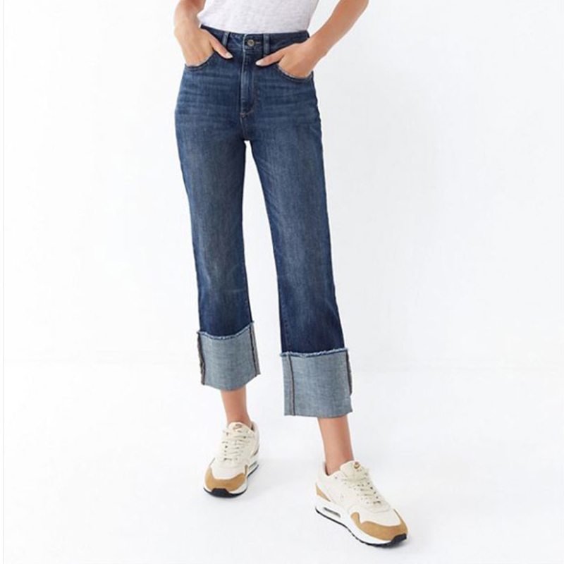 2019 high street loose fit fashion straight   Jeans   Women middle Waist wide leg Denim Pants no Stretch solid casual   Jeans   women