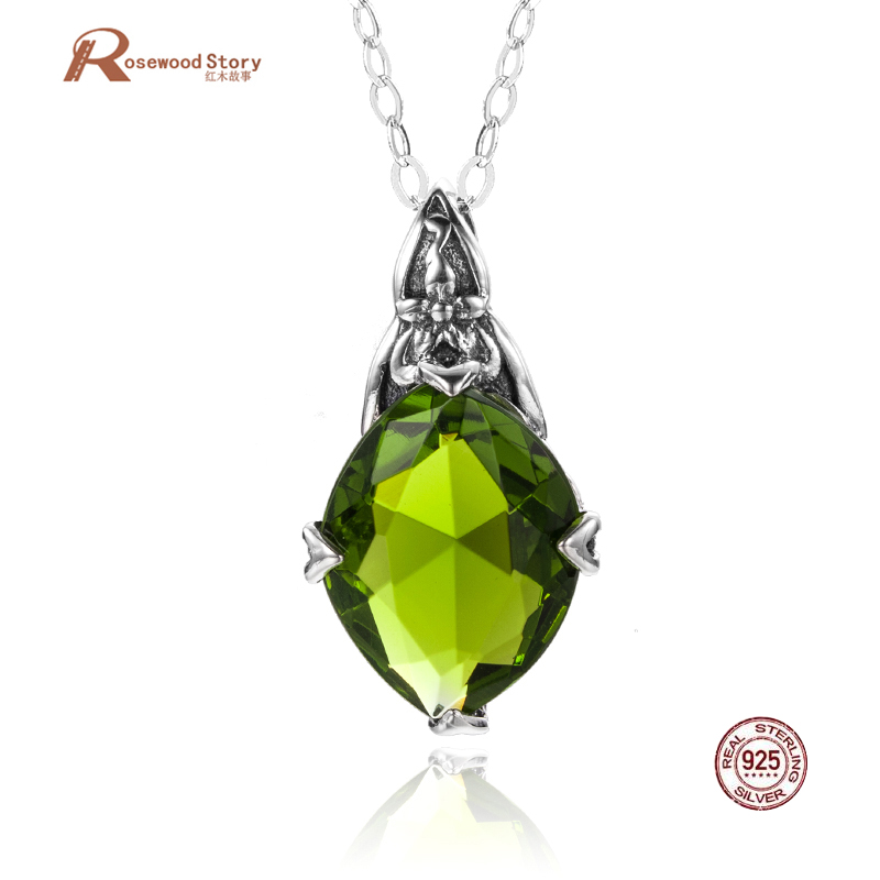 Authentic 925 Sterling Silver Pendant Vintage Jewelry Classic Created Peridot Crystal Pendant Bohemia Carved Flower Fine Jewelry