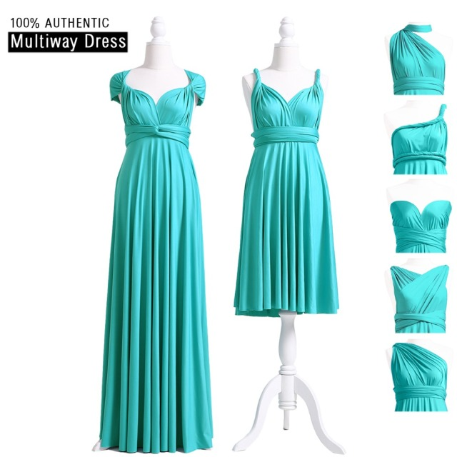6ec06a9e2b Turquoise Bridesmaid Dress MultiWay Long Convertible Dress Infinity Maxi  Dress Floor Length Cap Sleeves Style Wrap Dress