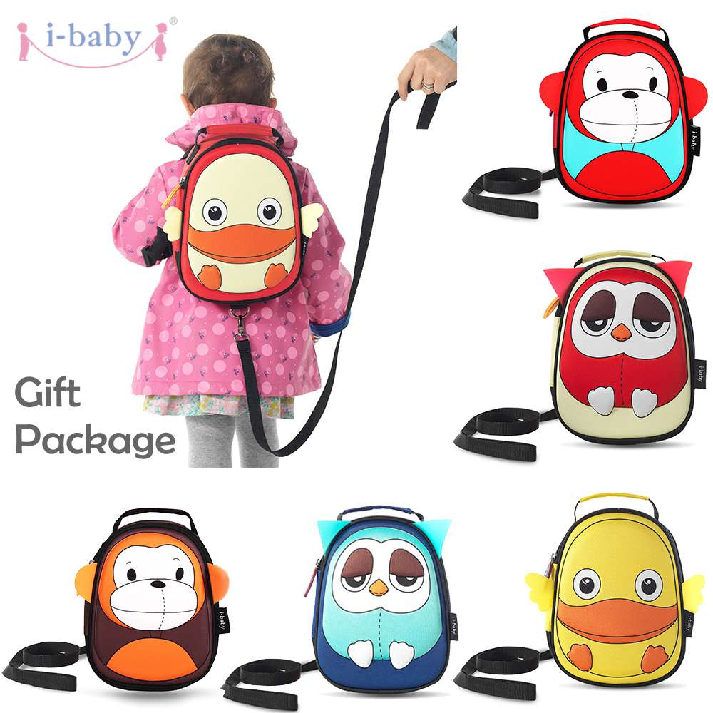 i-baby 3D Animal Design Harness Baby Kids Backpack with Leash Toddler Waterproof Backpack with Safe Harness, Ages 1+, 6 Colors