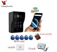 Wireless WiFi Video Door Phone Doorbell Intercom P2P Cloud With Electronick Lock RFID Keyfobs Remote Controller