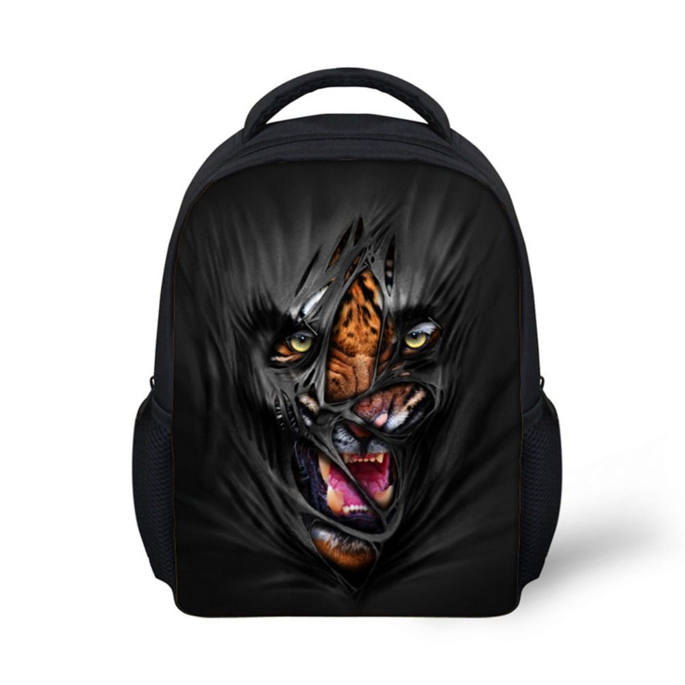 Noisydesigns Mask Animal 3D print Back Packs 12 inch School Bags for boys for Kindergarten Book Bag Black Cool Fierce Beast