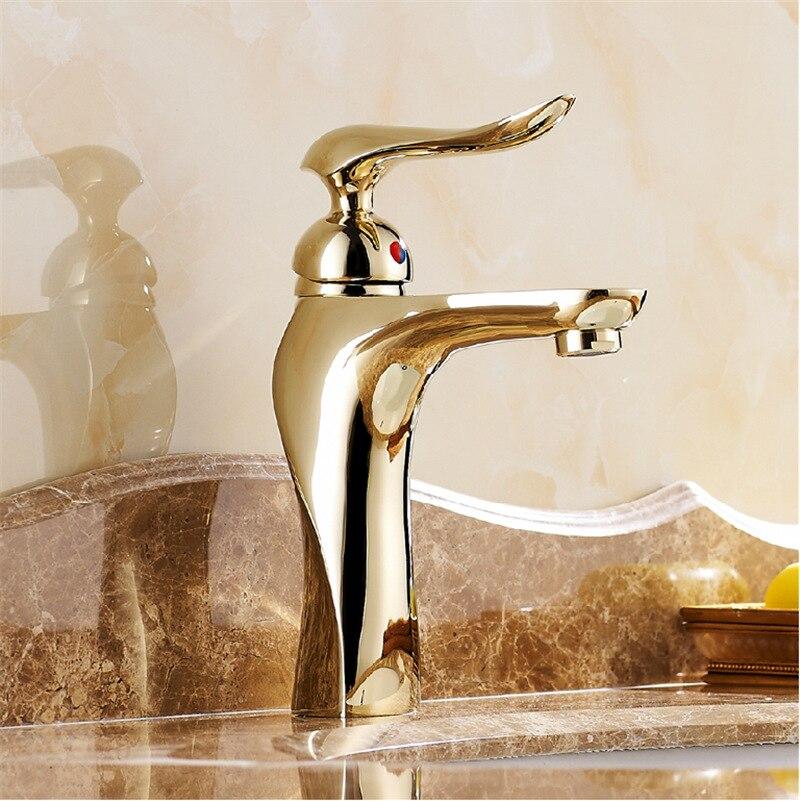 Free shipping high end bathroom faucets copper golden grifos para ...