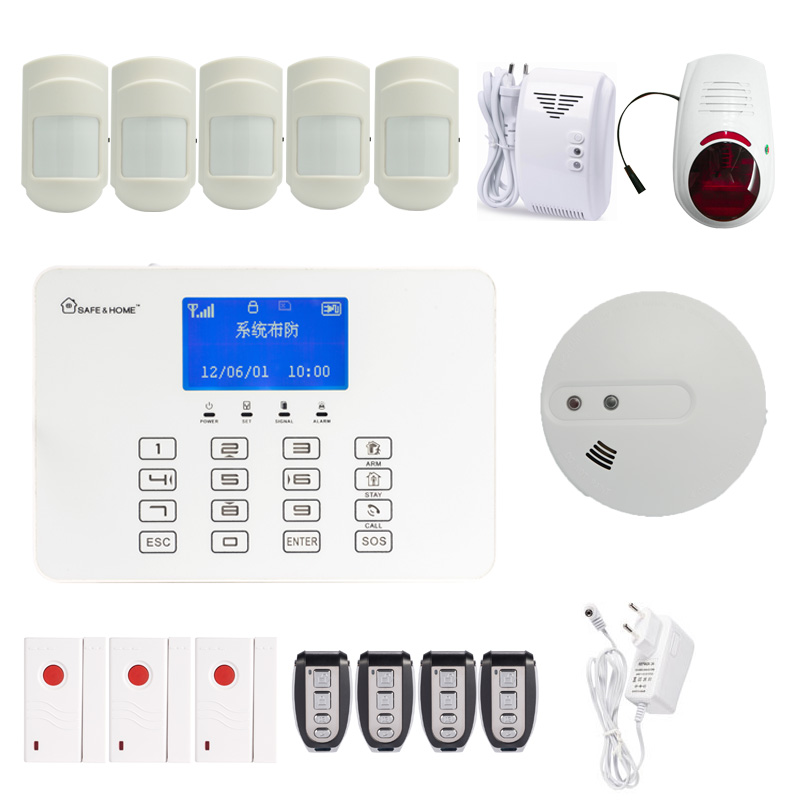 (1 set) DHL Free Home security Wireless Touch panel kapad GSM/SMS Alarm system 433MHz wireless siren smoke gas leak detector wireless smoke fire detector smoke alarm for touch keypad panel wifi gsm home security system without battery
