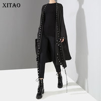 [XITAO] Europe 2018 New Autumn Fashion Women Metal Ring Decoration Long Coat Female Full Sleeve Solid Color Trench LJT3624