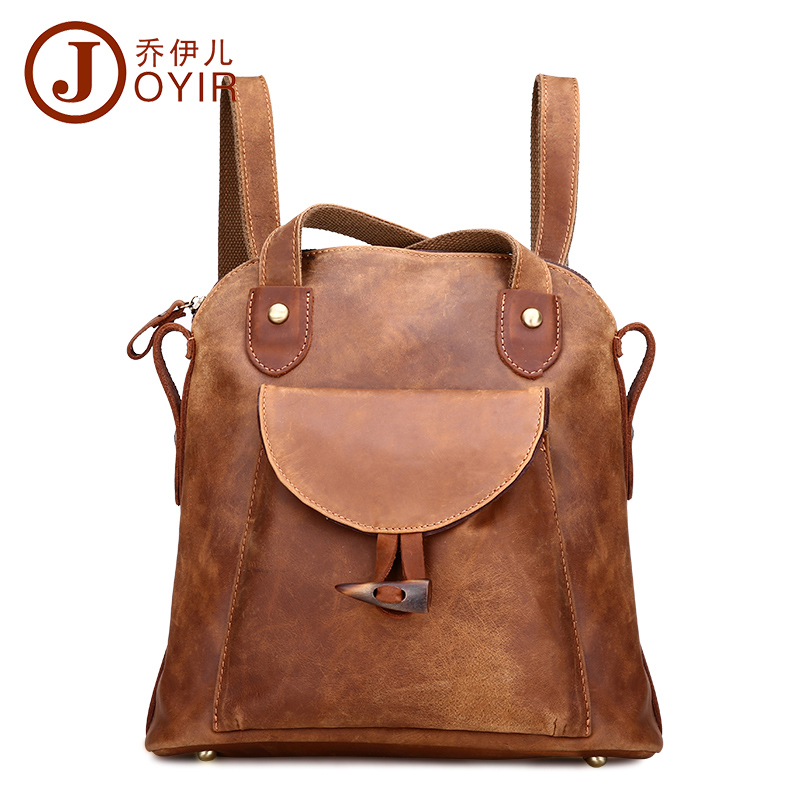 JOYIR Fashion Genuine Leather women backpack vintage brown