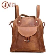 JOYIR Mode En Cuir Véritable femmes sac à dos vintage brun école fille épaule sac à dos dames shopping voyage sacs 3011