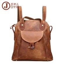 JOYIR Fashion Genuine Leather women backpack vintage brown school girl shoulder bag backpacks ladies shopping travel bags 3011