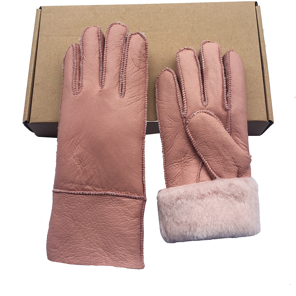 The new Winter Women, Gloves of Sheepskin gloves for Women goatskin cashmere Leather Real snow, manualThe W