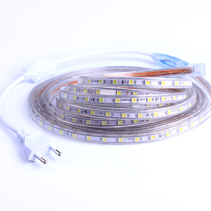 все цены на Waterproof SMD 5050 AC220V LED Strip Flexible Light 60leds/m RGB Led Tape LED Light With Power Plug 1M/2M/3M/5M/6M/10M/15M/25M