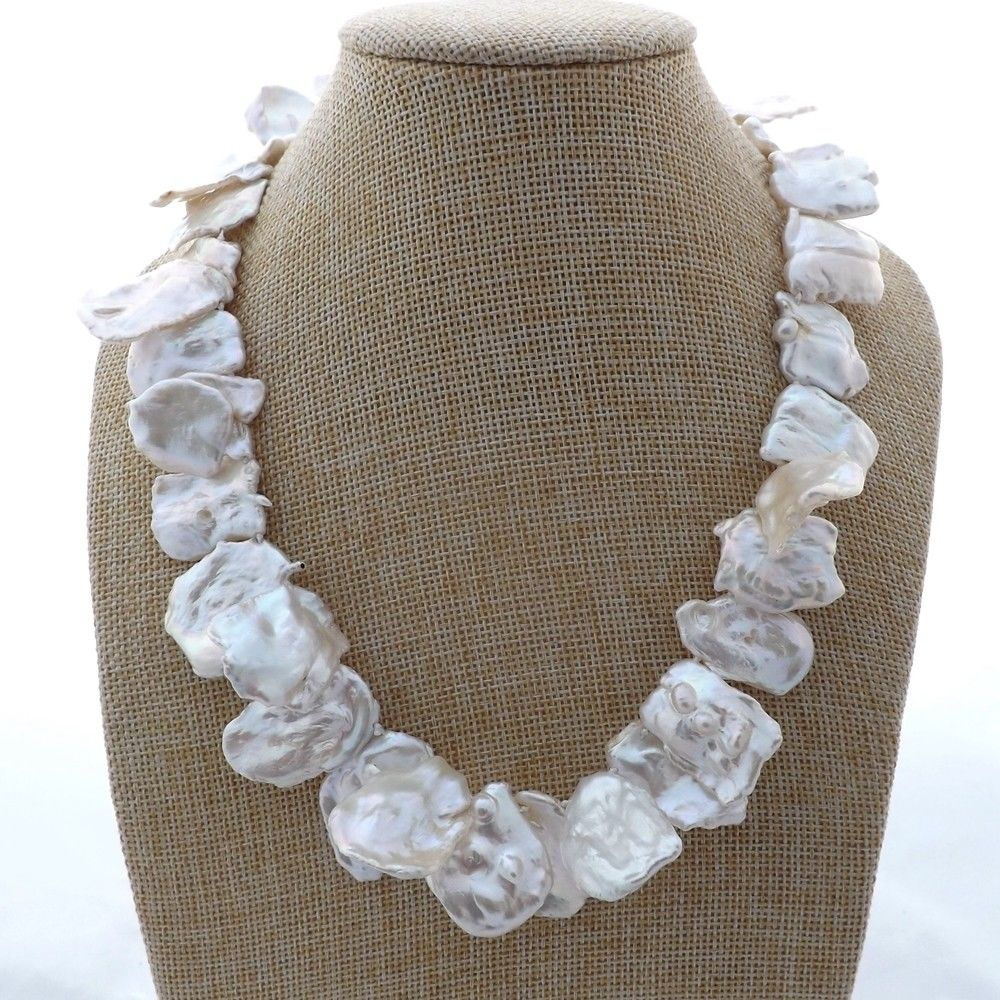 M011905 15x22MM 18 White Keshi Pearl NecklaceM011905 15x22MM 18 White Keshi Pearl Necklace