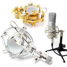 2017 New Stylish Gold Silver Microphone Mic Shock Mount Cradle Holder Clip Stand for Recording Studio
