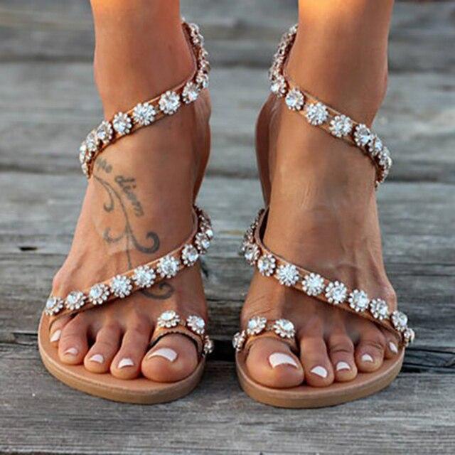 Kadın Sandalet Bling Kristal Yaz Ayakkabı Kadın Plaj Düz Sandalet Artı Boyutu Flip Flop Bayanlar Yumuşak Alt Terlik Kadın 43