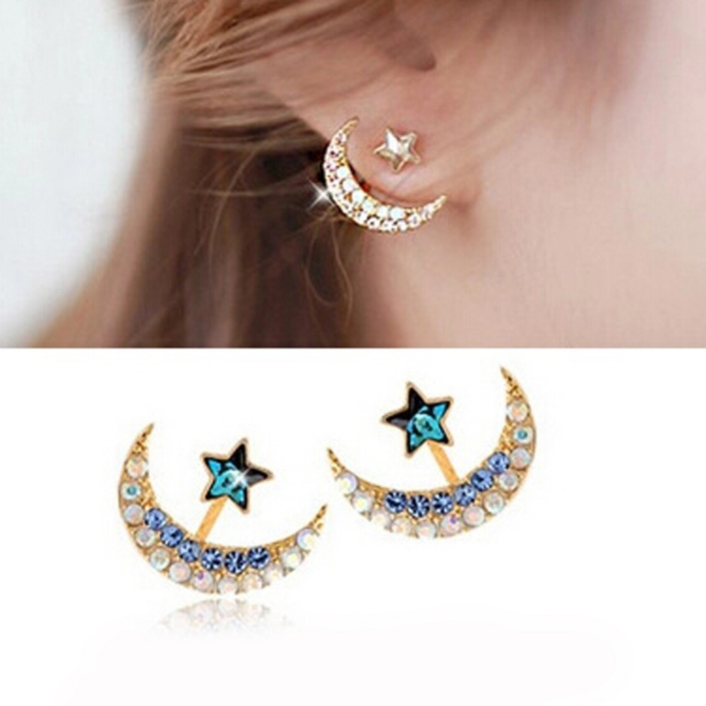 Fashion Crystal Crescent  Moon With Star Earrings  Color Blue Black Pink Gift For Girls And Ladies Free Shipping
