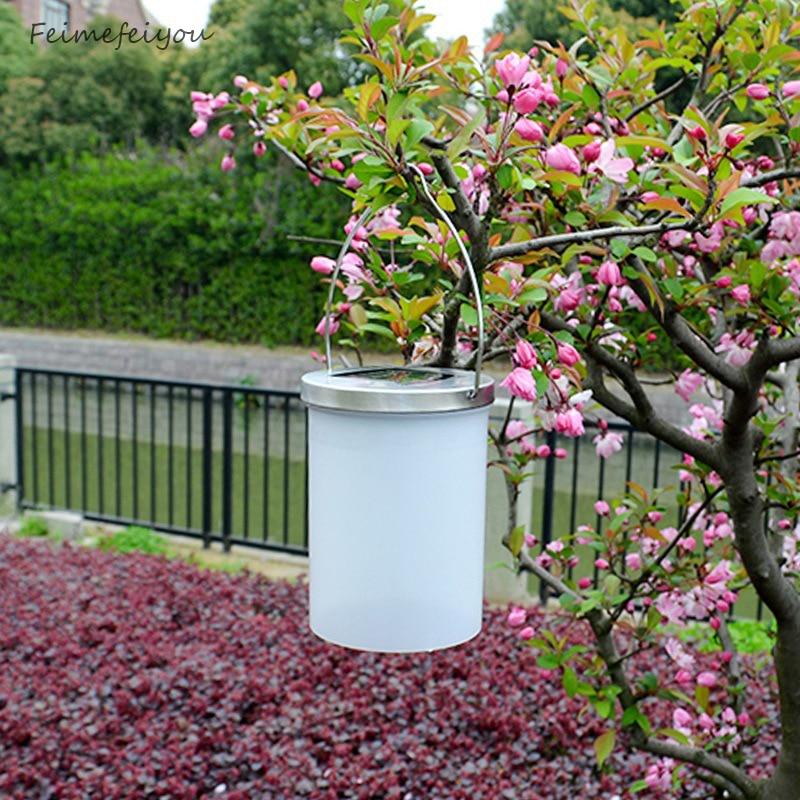 cilindro feimefeiyou impermeable al aire libre llev la lmpara solar del jardn lmpara de colgar cubo
