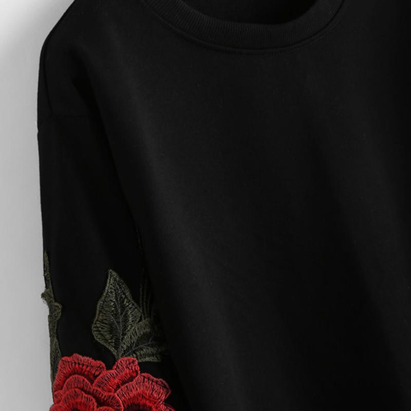 HTB1PidISVXXXXaJXFXXq6xXFXXXT - Rose Embroidery Sweatshirt Women Vintage Black Long Sleeve JKP050