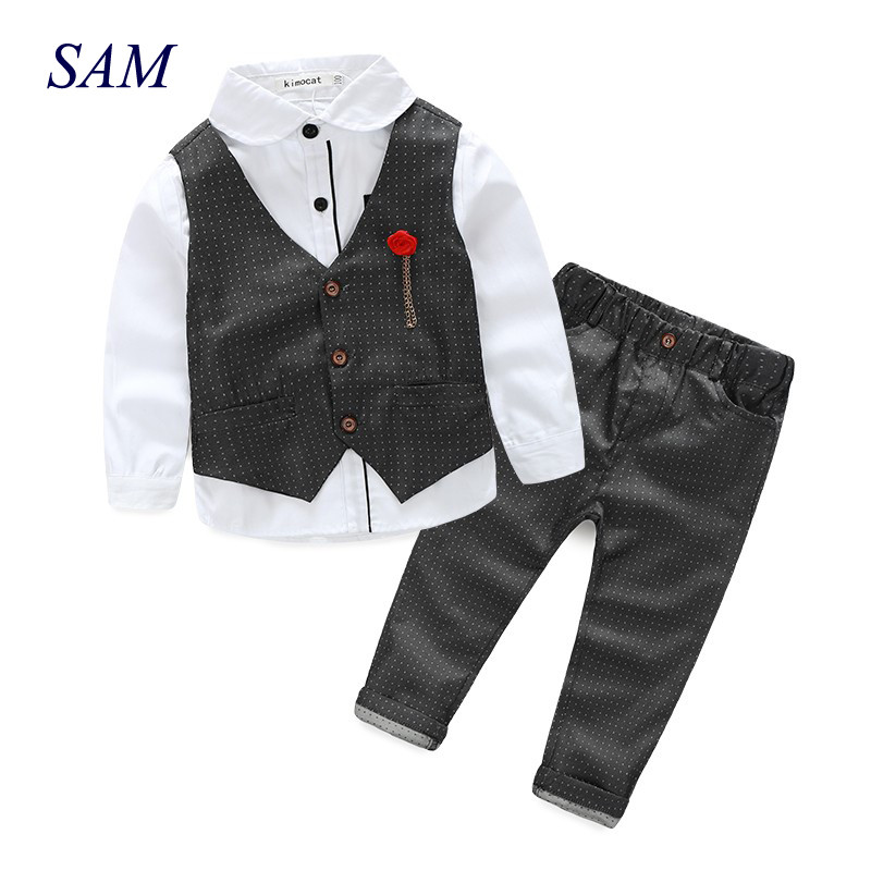 2018 Boys Clothing Sets Autumn Spring Shirt + Vest + Pants Children Wedding Clothes Kids Gentleman Leisure Handsome Blouse Suit 2016 leisure baby boys clothes set gentleman handsome formal wear wedding vest white t shirt tie pants party suits free shipping
