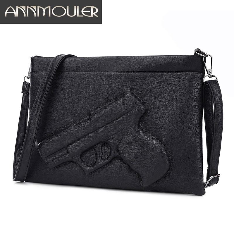 Annmouler Women Handbag High Quality Women Clutch Bag 3D Gun Embossed Pistol Bag Designer Envelope Crossbody Bag For Girls