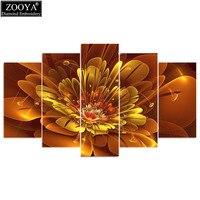 Zhui Star 5D DIY Diamond Embroidery Golden Flower Diamond Painting Cross Stitch Full Square Drill Rhinestone