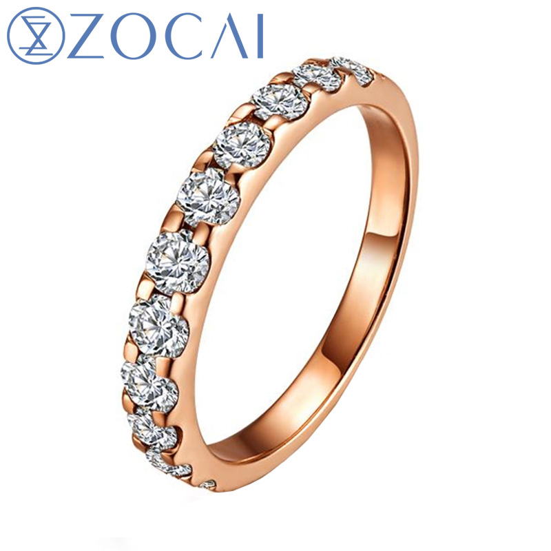 ZOCAI NATURAL 0.55 CT CERTIFIED SI / H ROUND CUT 18K ROSE GOLD DIAMOND SEMI ETERNITY WEDDING BAND RING W02411