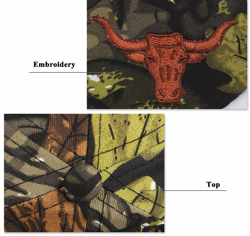 """Embroidered """"Texas"""" and Bull Horns Camo Baseball Cap - Bull Embroidery and Button Top Detail Views"""