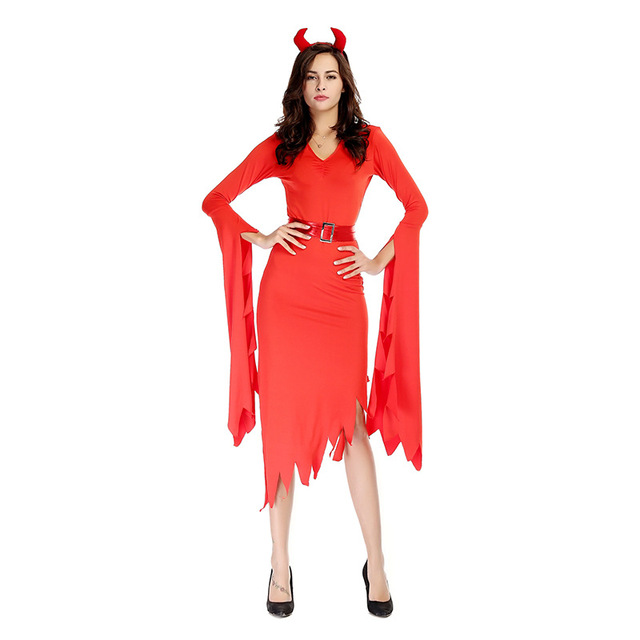 Halloween Purim Party Costumes Adult Women Red Evil Demon Devil Costume  Fancy Cosplay Dresses for Woman 5e148ce2e0dd