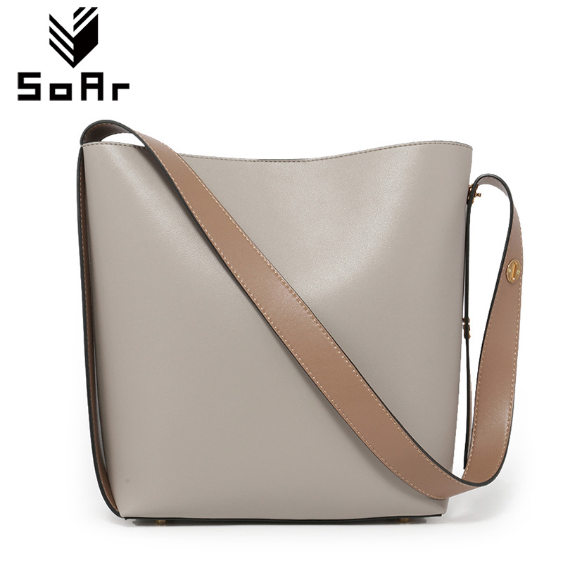 SoAr Genuine Leather Bucket Bag New Fashion Women Messenger Bag Cowhide Shoulder Bags Set Luxury Handbags Women Bags Designer fashion leather handbags luxury head layer cowhide leather handbags women shoulder messenger bags bucket bag lady new style
