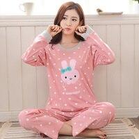 2017 Cute Cartoon Girls Cotton Pajamas Set Sleepwear Warm Spring Leisure Time Nightwear
