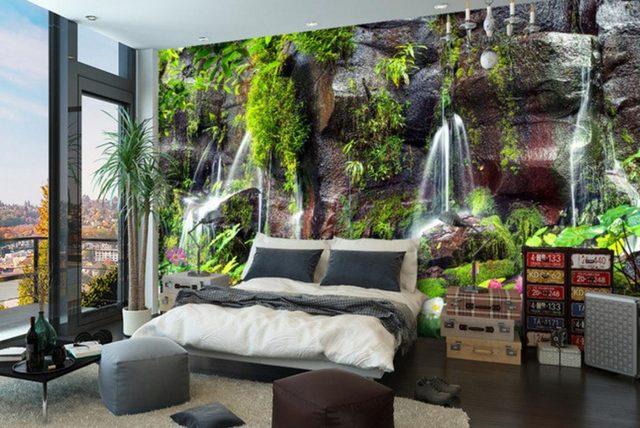 Online Shop Custom Garden view Modern Wall paper Waterfall Scenery ...