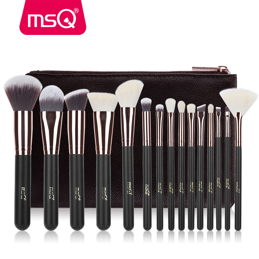 MSQ Makeup Brushes Set Pro 15st Rose Guld Make Up Brush Animal & Synthetic Hair Foundation Blusher Eye Tool Med PU Läderfodral