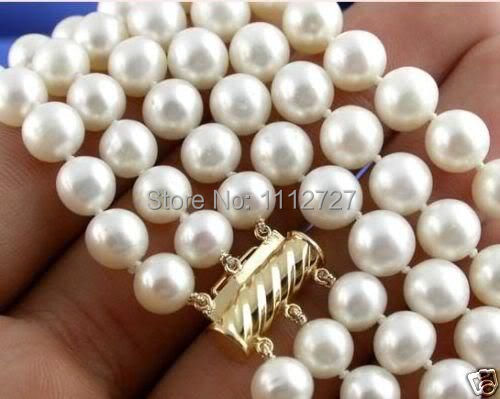 Hot 2014 New Fashion Style 7-8MM 3Strands White Akoya Cultured Pearl Necklace Beads Jewelry Natural Stone BV220 Wholesale Price