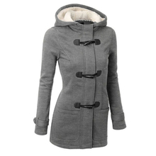 Winter Explosion Of Ms. Hooded Wool Blended Gold Horns Leather Buckle Pure Color Fashion Keeps Warm Long Jacket Jacket Coat