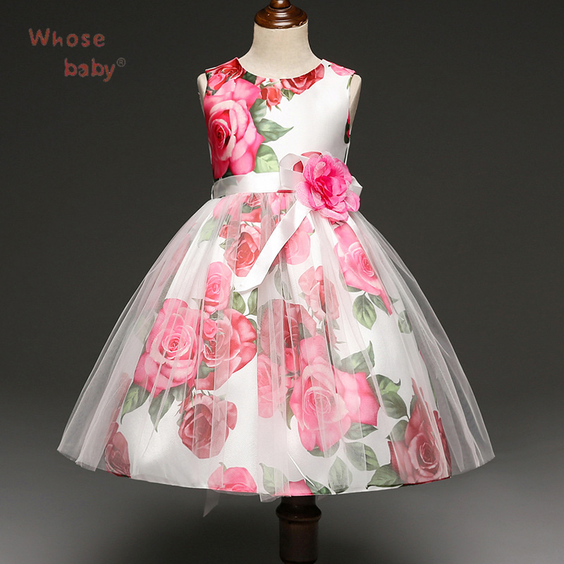 New 2017 Party Girls Dress Flower Bow Kids Christmas Costume Infant Printed Toddler Ball Gown Princess Wedding Children Clothing new arrival hot sale toddler princess girls sleeveless ball gown costume latin show fashion formal dancing dress