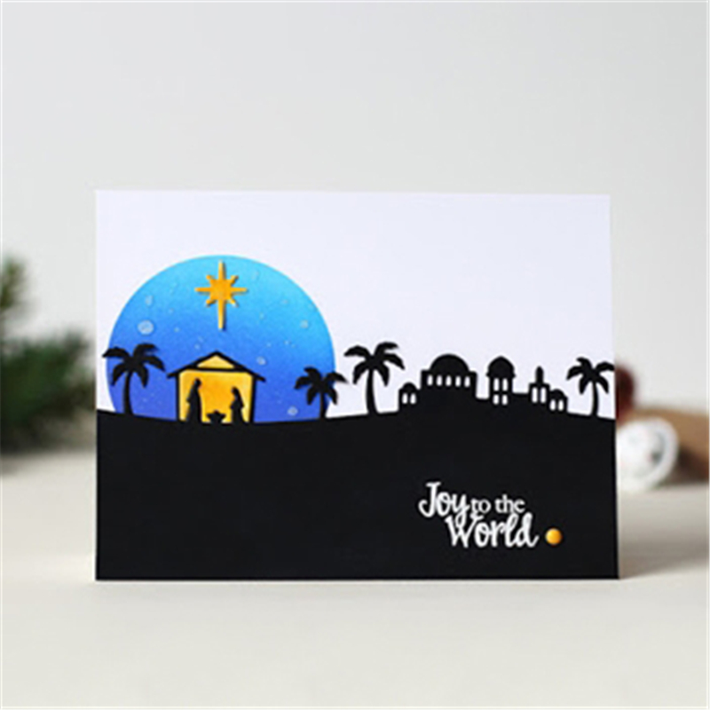 Naifumodo DIY Hometown Metal Cutting Dies Craft Die Nativity Scape Embossing Stencil Decoration Scrapbooking New Frame Diecuts