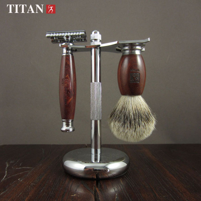 Men Manual Double Edges Safety Razor Set Red Ebony Wood Handle Titan Razor Classic Barber Shaving Razors Set