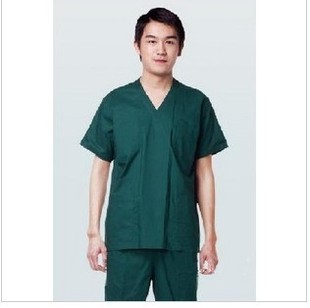 63b3218a4f6 2pcs 100% cotton undergarments surgical clothing scrub suit blackish green  wash clothes set