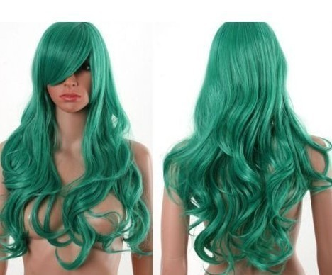 beautiful green hair curl fashion