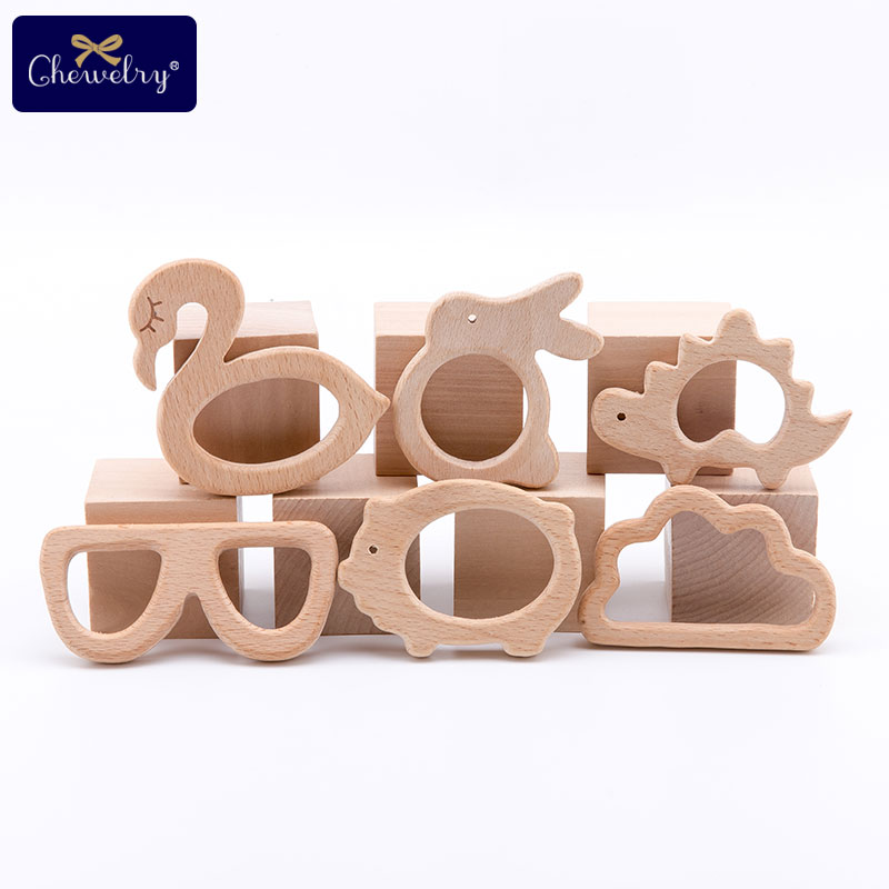 1PC Beech Wooden Teether Baby Teething Toys Wooden Animal Pig Rodent Flamingo Beech Wood Teether Bracelet Pendant Children Goods