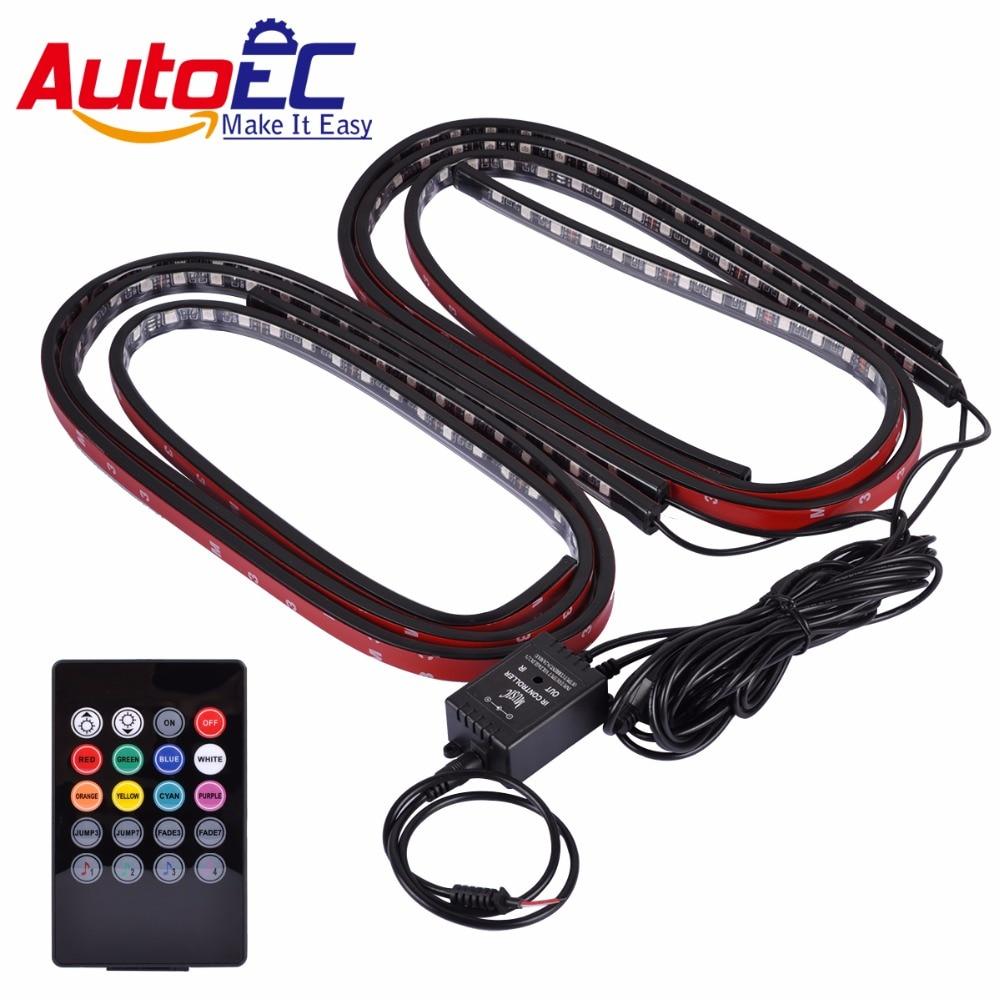 AutoEC car interior led strip atmosphere Light 5050 RGB 90x120 cm 7 color LED Strip Under Car Tube Strip Light #LQ667