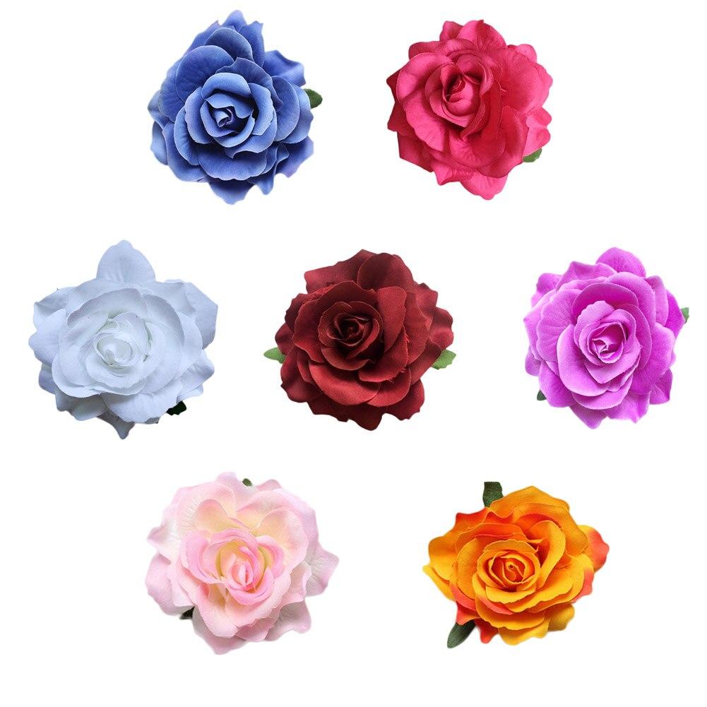 New Arrival Artificial Rose Floral Hair Pins Headdress Head Wear Wedding Bridal Girls Women Hair Clip Hair Accessories 7 Colors
