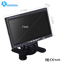 7 inch 1024x600 industrial Car Reverse Backup Rearview TFT LCD monitor 2 AV Input Screen Computer Monitors PC car video Security