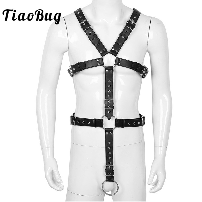 TiaoBug Men Full Body Chest Harness Detachable Groin Straps With Metal Rings Hot Sexy Male Gay BDSM Bondage Belt Erotic Costume