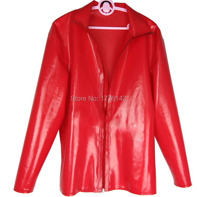 Latex T SHIRT Long sleeves front zipper Gummi Uniform Rubber Top clothes clothing plus size
