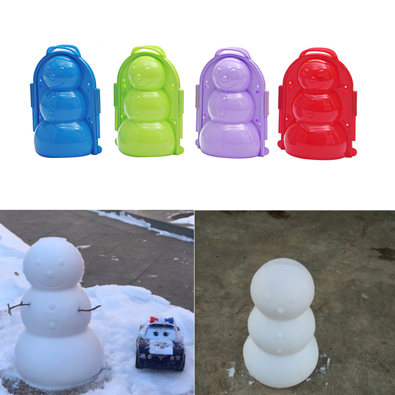 1pc Winter Plastic 3D Snowman Model Making Mold Kids Toys Outdoor Sports Snow Sand Ball Maker Mold Winter Gifts Random Color